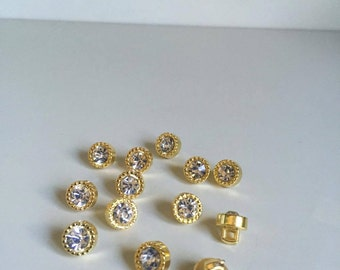 10 Pcs Gold Round Plastic Rhinestone Buttons Sewing Shank Buttons Craft (52)