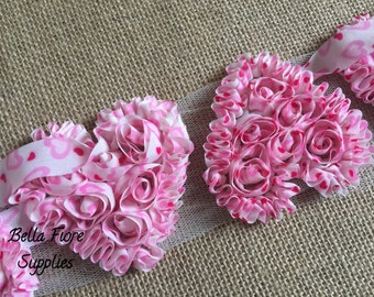 Pink Shabby Chiffon Hearts -Valentines Day Shabby- Red Pink White Heart Shabby- 3 inch- Shabby Chiffon Flowers- Wholesale-