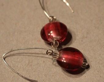 Magenta Glass Bead Dangle Earrings