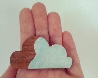 laser cut wood brooch mint cloud