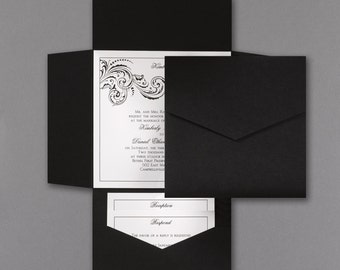 Pocket Wedding Invitations Set Black and White Lot of 50