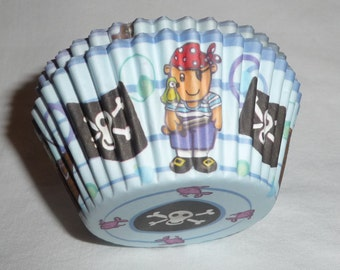 Pirate CUPCAKE CASES. Cupcake Liners, Cupcake Wrappers, Muffin Cups