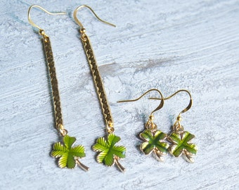 Gold Four Leaf Clover Earrings , Clover Earrings, Lucky Clover Earrings, Shamrock Earrings , St Patricks Day Earrings