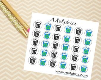 Trash & Recycle Sticker Set