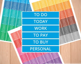 Printable Planner Stickers Set - To Do, Today, To pay, To buy, Personal, Work for Erin Condren planner