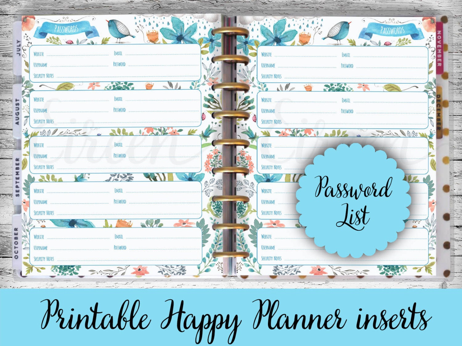 Happy Planner Printable Pages Password Book Password
