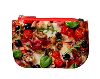 Delicious Vegetarian Pizza / Zip Up Purse