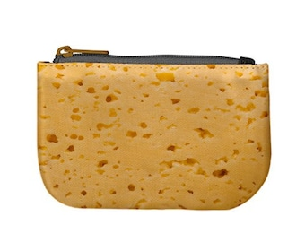 Cheese Slice Cheesy  Swiss Cheese Cheddar / Zip Up Purse