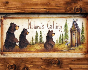 Nature's Calling, Bathroom Decor, Country Bathroom Decor, Black Bear Decor, 11x19, Rustic and DIstressed Wood Frame, Country Bath Decor.