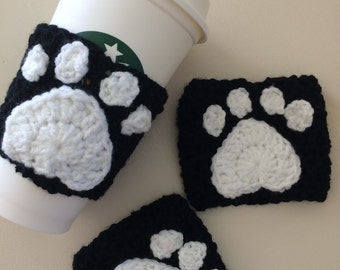 Paw Print Cup Cozy, Coffee Cozy, Travel Mug Cozy, Crochet Cozy