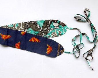 BELT fabric two-faces / blue comores fabric & butterflies and turquoise novelty fabrics