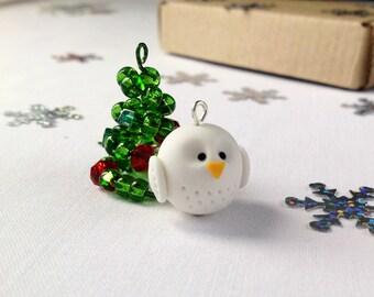 Owl necklace, owl pendant, white owl, clay owl, handmade owl, Christmas gift, Christmas
