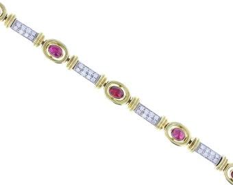 Cabochon Ruby and Diamond Bracelet