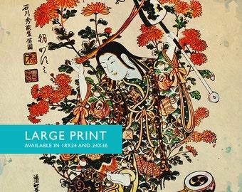 Japanese Print Art Vintage Wood Block Print on Cotton Canvas and Satin Photo Paper