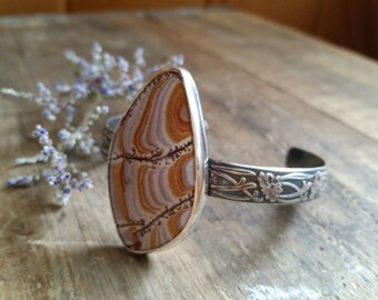SALE: Jasper Nouveau Cuff )) boho, vintage, metaphysical, stone, earthy, hedgewitch