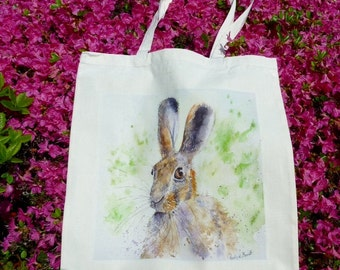 Hare print on a useful Natural Cotton bag