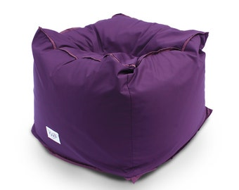 Soft pouf, ottoman, tuffet, handcrafted from furniture or waterproof fabric