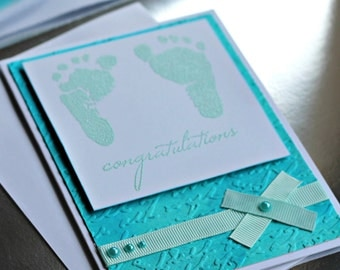 Baby Shower Handmade Greeting Card - Blue