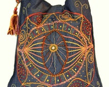 Bohemian embroidered denim bag - Magic Eye/Tote bag/Hobo bag/ Handmade embroidery/Мystic/ Мandala/