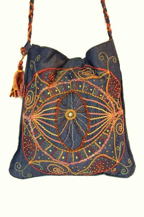 Bohemian embroidered denim bag magic eye tote hobo