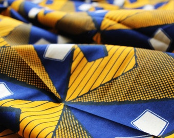 African Wax Print Fabric - Blue and Yellow
