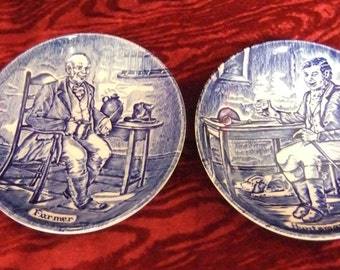 Pair of Vintage Enoch Wedgwood Blue & White Coasters/Pin Dishes Farmer/Huntsman