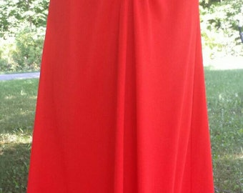 Free ship Red polyester maxi dress 1970s