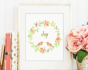"""Watercolor Christmas wreath """"Joy"""", holly and poinsettia digital print for Instant Download, printable, Christmas quote"""