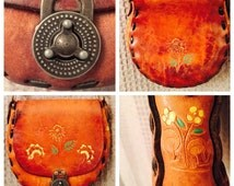 Leather Hippie/hummingbird/mushroom shoulder bag