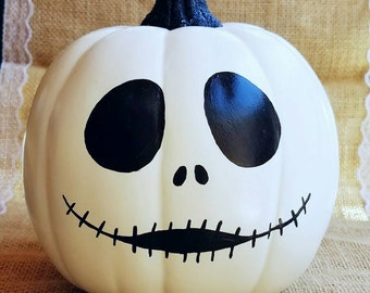 Jack skellington decor, Halloween decor, painted pumpkin, nightmare before christmas decor, pumpkin decor, jack skellington pumpkin