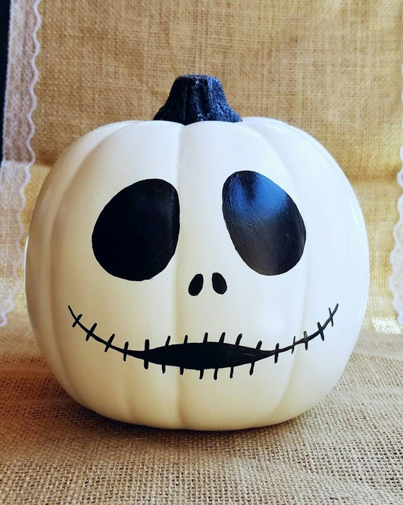 Jack skellington decor halloween decor painted pumpkin - Jack skellington decorations halloween ...