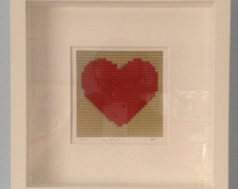 """Framed """"Be Mine"""" limited edition, signed giclee LEGO® mosaic print"""