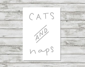 Cat Lover Gift Cats And Naps Print Cat Owner Wall Art Cat Print Cat Gift