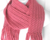 Ladies Warm Winter Crochet Fringed Scarf - Rose Pink Color - Crocheted Fringe