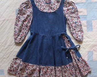 girl's denim and floral dress size 4