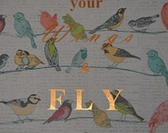 Spread Your Wings and Fly Real distressed Foil Decorative Paper A4 Quote Word Print