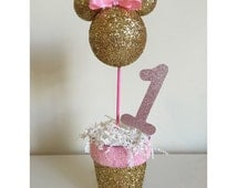 Pink and Gold Minnie Mouse Centerpiece.