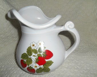 Vintage McCoy Pottery Milk Strawberries Pitcher 7515 Collectible