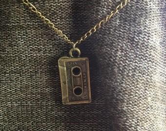 Antique Brass Cassette Tape Necklace