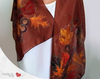 Brown scarf with leaves and chestnuts, Hand painted silk scarf, Long scarf, Gift for her, Valentines day gift, Ready to ship