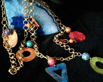So happy together.... Vintage colorful mixed metals necklace
