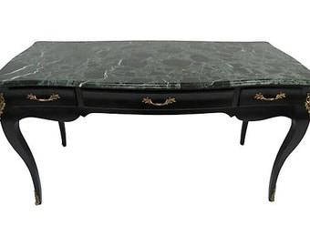 Louis XV Style Marble Top Desk, Louis Marble Top Desk, Vintage French Style Desk