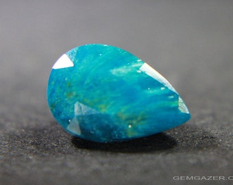 Teal coloured Cavansite, faceted, India.  2.18 carats.