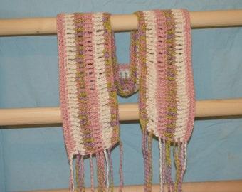 crocheted organic cotton scarf