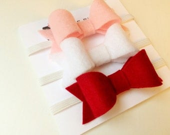 Set of three valentine Susan bows in baby pink, bright white and crimson red - headband - clip