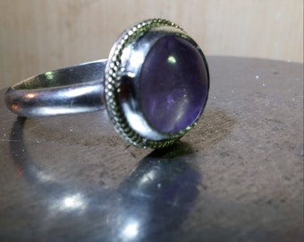 Natural Amethyst and Sterling/Fine Silver Ring - sized to order