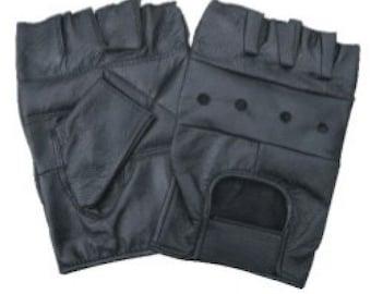 Black Leather Fingerless Half Gloves