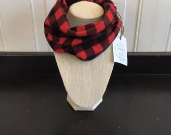 Red & Black Plaid Safe Infinity Scarf
