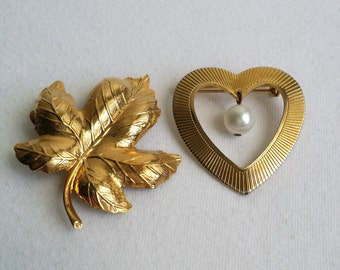 Vintage Gold Tone Leaf & Heart Brooches