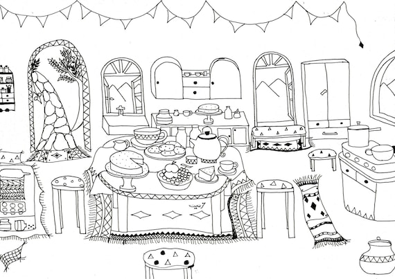 Coloring Pages Kitchen : Kitchen colouring download coloring cooking
